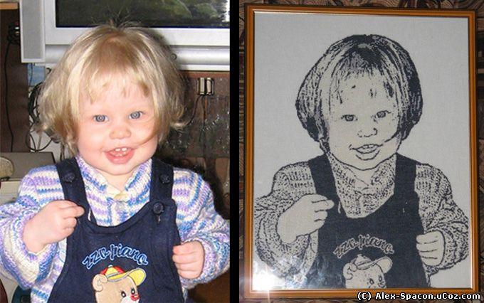 Вышитый портрет нашей дочки